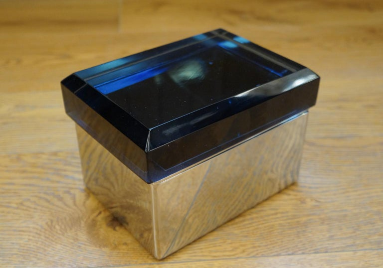 Toso Mid-Century Modern Blue Molato Murano Glass Jewelry Box, 1982 In Excellent Condition For Sale In Murano, Venezia