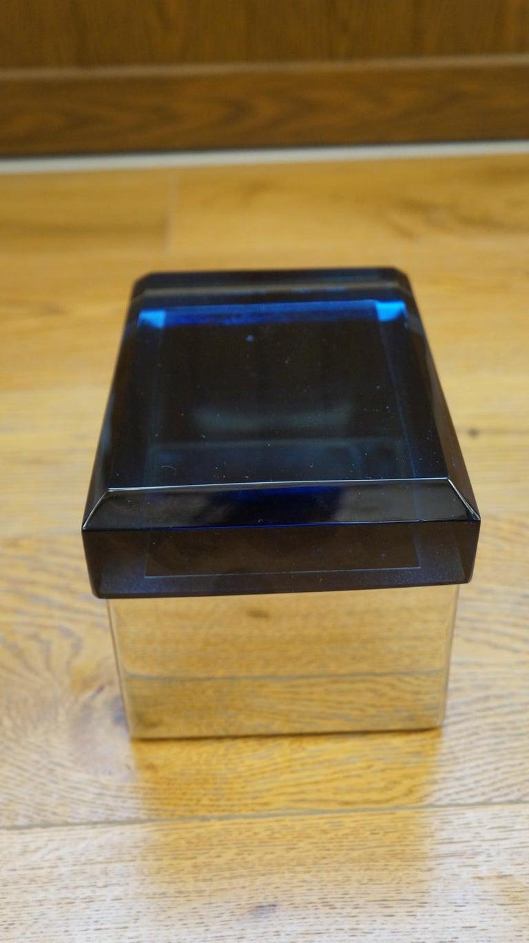 Late 20th Century Toso Mid-Century Modern Blue Molato Murano Glass Jewelry Box, 1982 For Sale