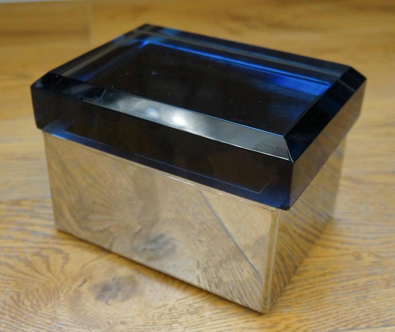 Art Glass Toso Mid-Century Modern Blue Molato Murano Glass Jewelry Box, 1982 For Sale