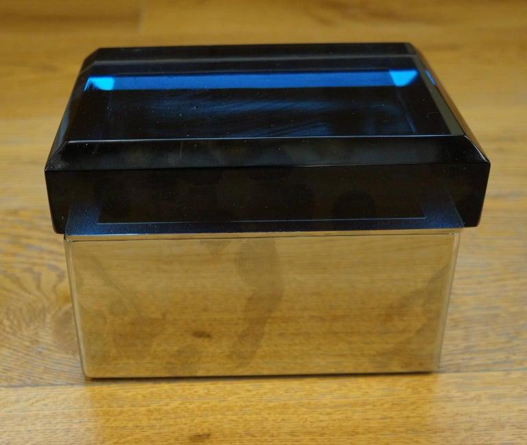 Toso Mid-Century Modern Blue Molato Murano Glass Jewelry Box, 1982 For Sale 1