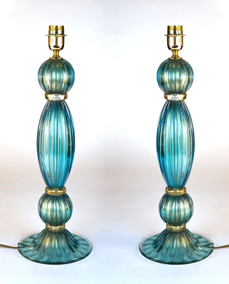 Exclusive pair of Murano glass table lamps aquamarine colour in 24 carat gold leaf. 