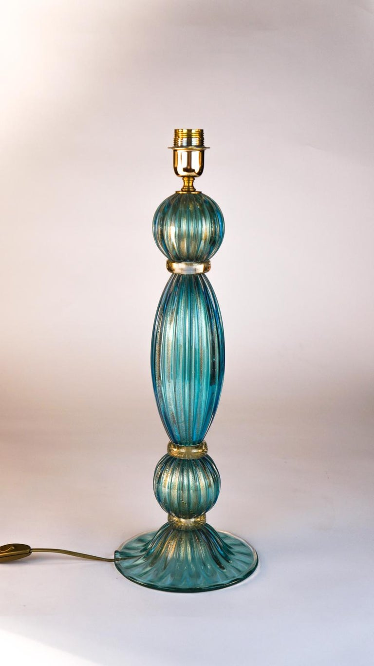 Hand-Crafted Toso Mid-Century Modern Pair of Aquamarine Murano Glass Table Lamps, 1980s For Sale