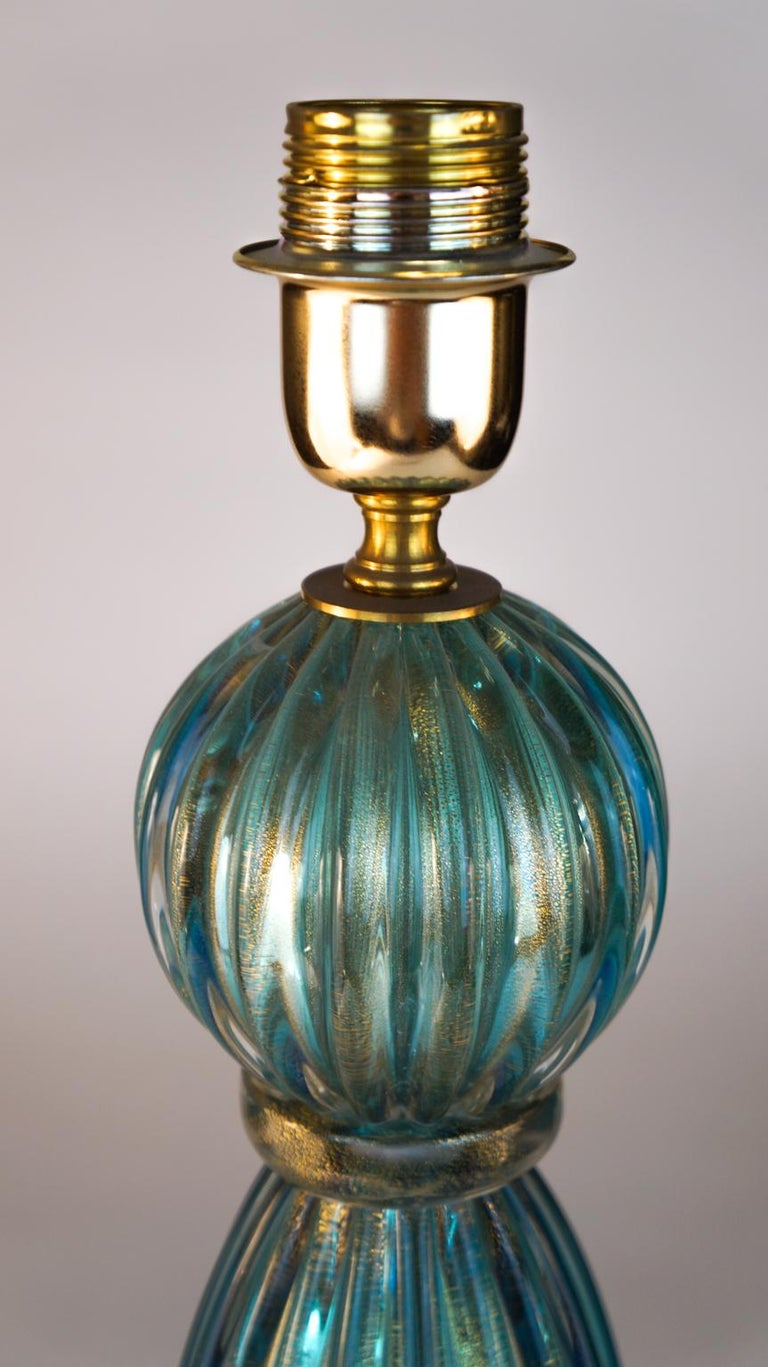 Toso Mid-Century Modern Pair of Aquamarine Murano Glass Table Lamps, 1980s In Excellent Condition For Sale In Murano, Venezia