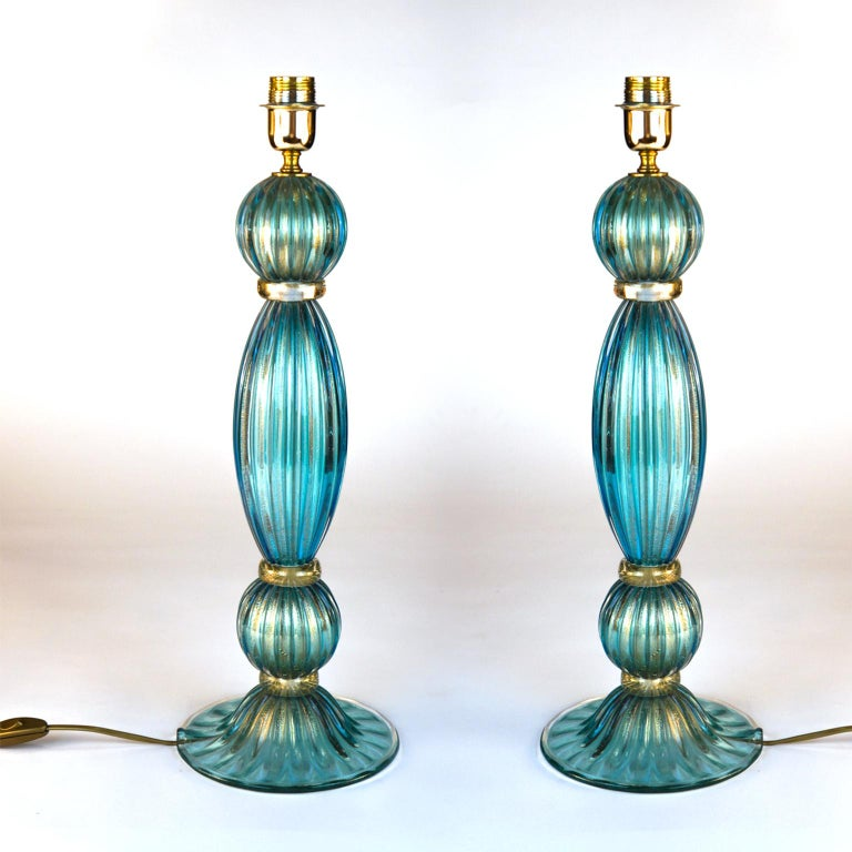 Toso Mid-Century Modern Pair of Aquamarine Murano Glass Table Lamps, 1980s For Sale 1
