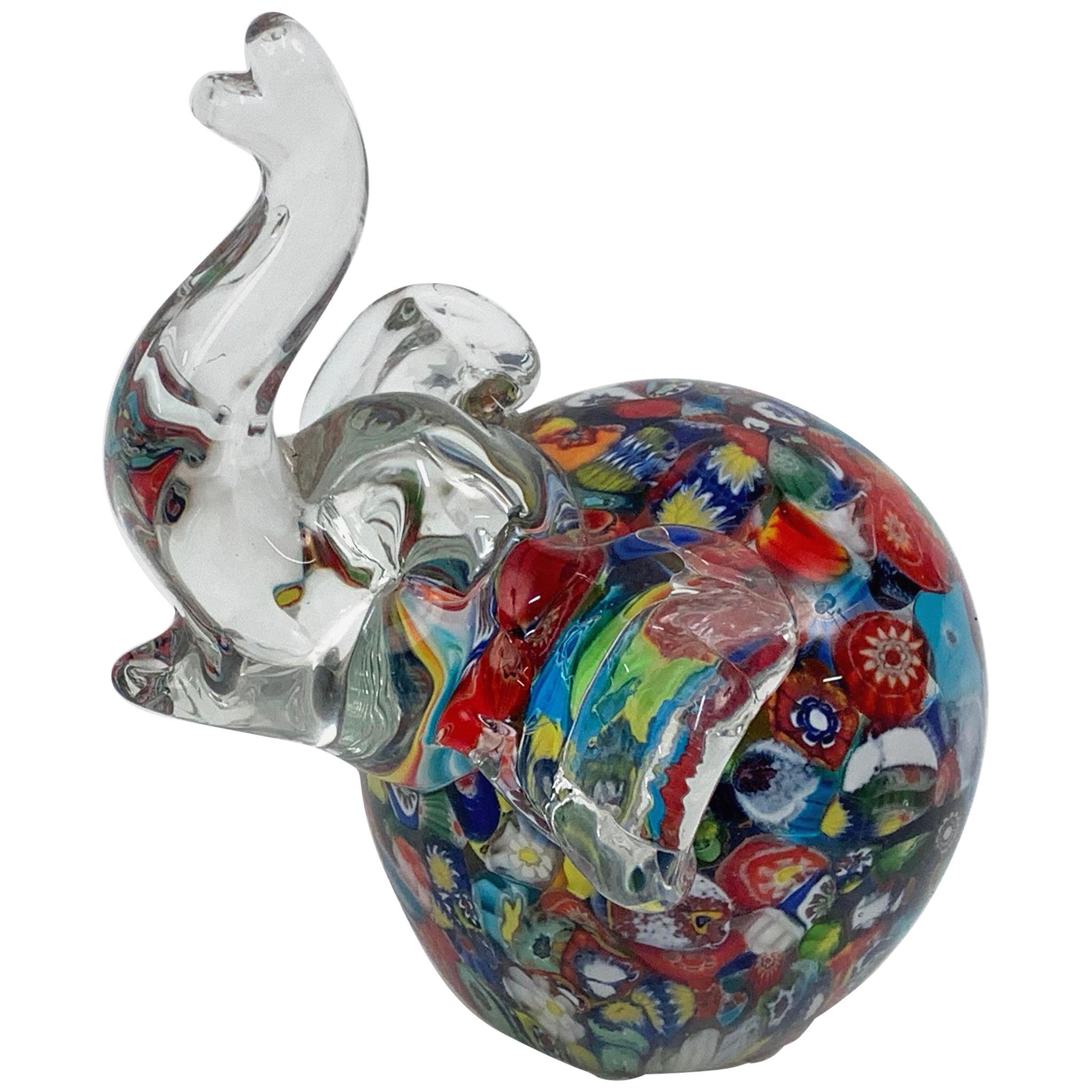 Toso Midcentury Murano Glass Millefiori Elephant Italian Sculpture, 1970s
