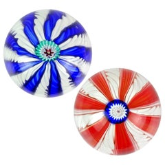 Toso Murano Blue Red White Millefiori Flower Italian Art Glass Paperweights