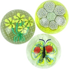 Toso Murano Butterfly Mosaic Millefiori Flower Italian Art Glass Paperweights