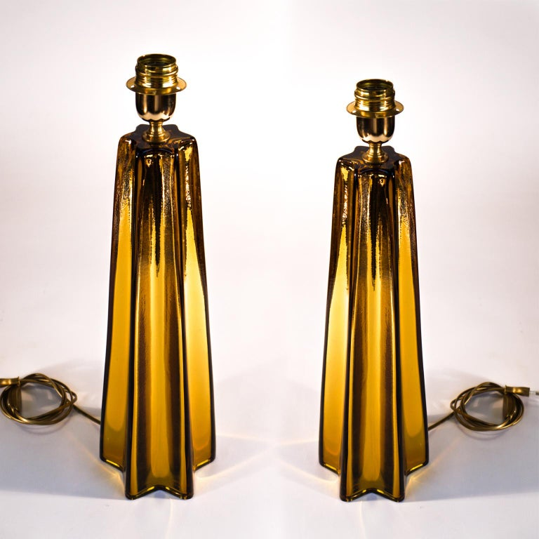 Toso Mid-Century Modern Amber Pair of Murano Glass Table Lamps, 1989 For Sale 4