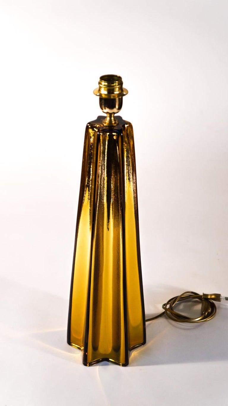 Toso Mid-Century Modern Amber Pair of Murano Glass Table Lamps, 1989 In Excellent Condition For Sale In Murano, Venezia