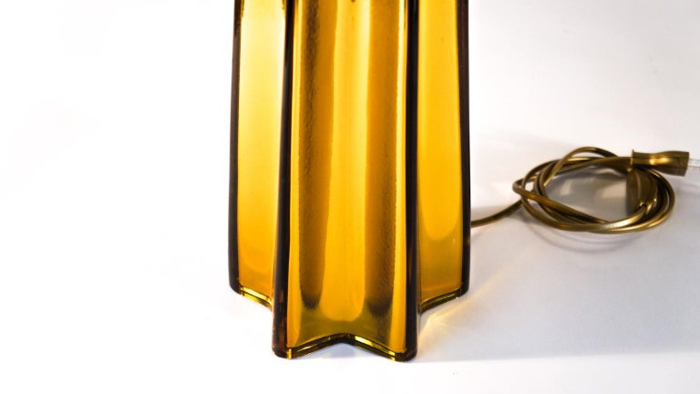 Toso Mid-Century Modern Amber Pair of Murano Glass Table Lamps, 1989 For Sale 1