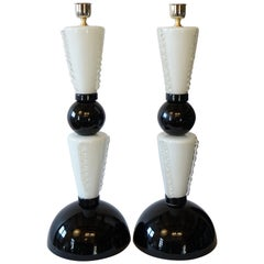 Toso Murano Mid-Century Modern Black White Two Murano Glass Table Lamps, 1974