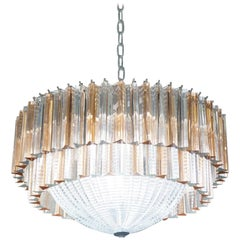 Toso Murano Mid-Century Modern Crystal Rose Venetian Glass Chandelier, 1970s