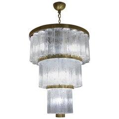 Toso Murano Mid-Century Modern Crystal Venetian Glass Chandelier Italian, 1984