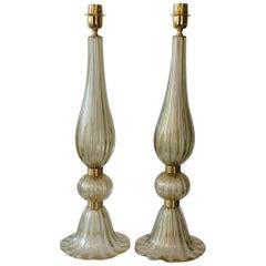 Toso Murano Mid-Century Modern Fumè Two Murano Glass Table Lamps Italian, 1987