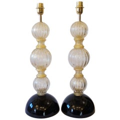 Toso Murano Mid-Century Modern Gold Black Two Murano Glass Table Lamps, 1985