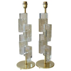 Toso Murano Mid-Century Modern Gold Two Murano Glass Table Lamps, 1983