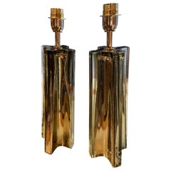 Stefano Toso, Pair of Golden Murano Table Lamps, 1980