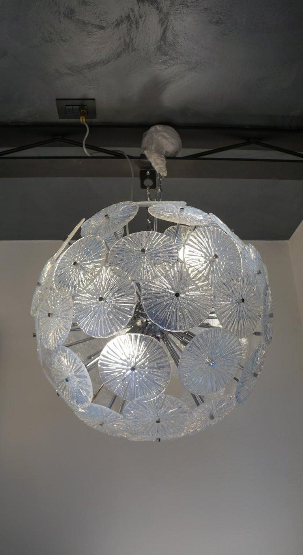Toso Stefano Mid-Century Modern Crystal Murano Glass Chandelier Sputnik, 1985 For Sale 3