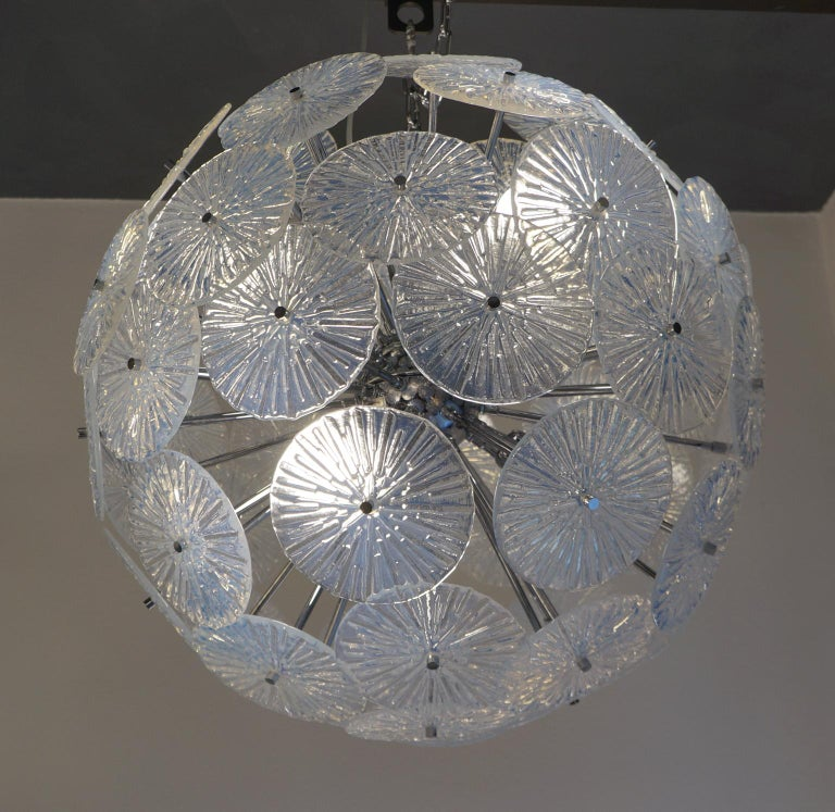 Toso Stefano Mid-Century Modern Crystal Murano Glass Chandelier Sputnik, 1985 For Sale 4