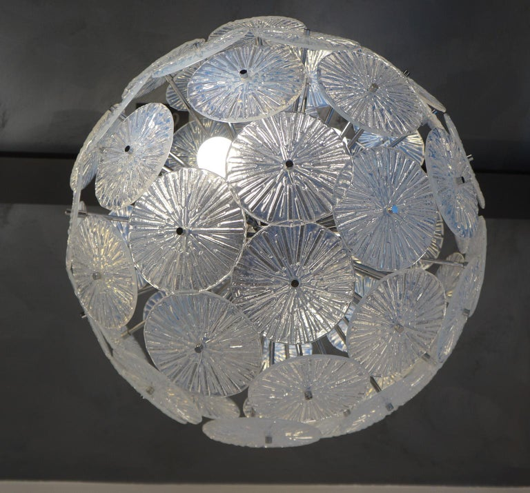Toso Stefano Mid-Century Modern Crystal Murano Glass Chandelier Sputnik, 1985 For Sale 5