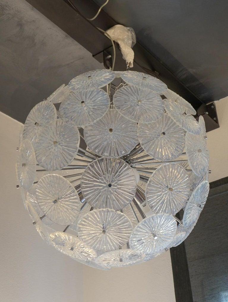 Toso Stefano Mid-Century Modern Crystal Murano Glass Chandelier Sputnik, 1985 For Sale 8