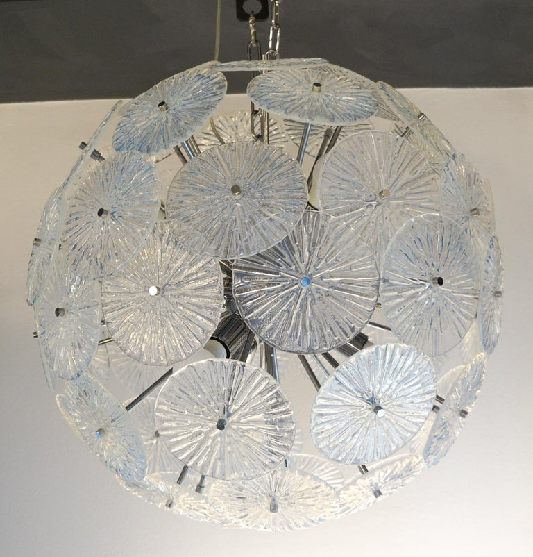 Toso Stefano Mid-Century Modern Crystal Murano Glass Chandelier Sputnik, 1985 For Sale 9