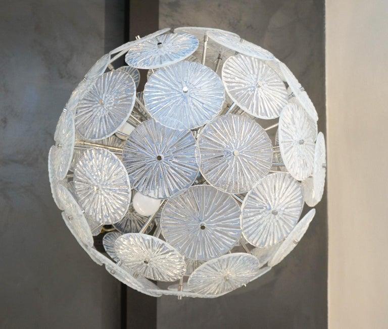 Italian Toso Stefano Mid-Century Modern Crystal Murano Glass Chandelier Sputnik, 1985 For Sale