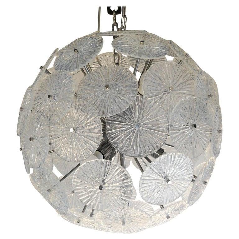 Toso Stefano Mid-Century Modern Crystal Murano Glass Chandelier Sputnik, 1985 For Sale