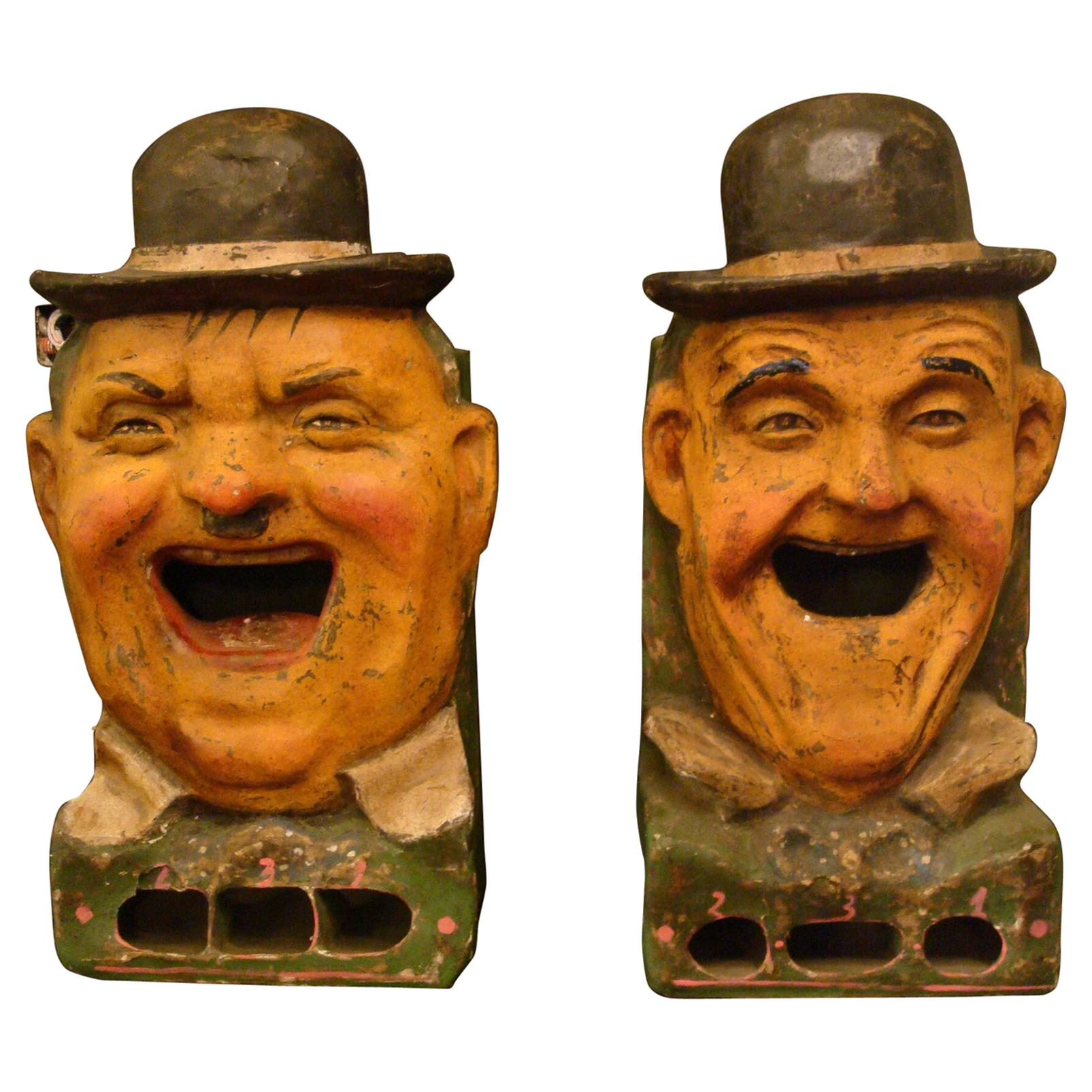 Tossing Game Paper Mâché 'Laurel and Hardy' Carnival Art, 1930s