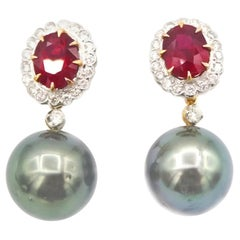 Total 4.67 Carat Oval Ruby Diamond Tahitian Pearl Drop Earrings Yellow Gold