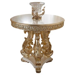 Total Gold Baroque Round Central Table Made in Italy by Modenese Interiors
