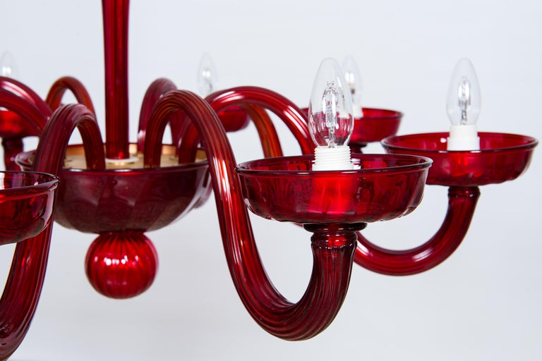 Total Red Chandelier in Blown Murano Glass by Vintage Murano Gallery For Sale 9