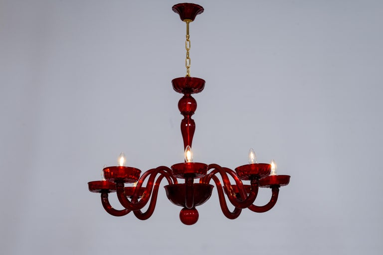 Total Red Chandelier in Blown Murano Glass by Vintage Murano Gallery For Sale 10