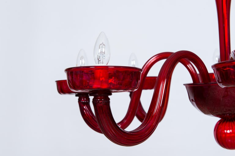 Total Red Chandelier in Blown Murano Glass by Vintage Murano Gallery In Excellent Condition For Sale In Villaverla, IT