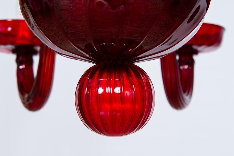 Total Red Chandelier in Blown Murano Glass by Vintage Murano Gallery For Sale 1