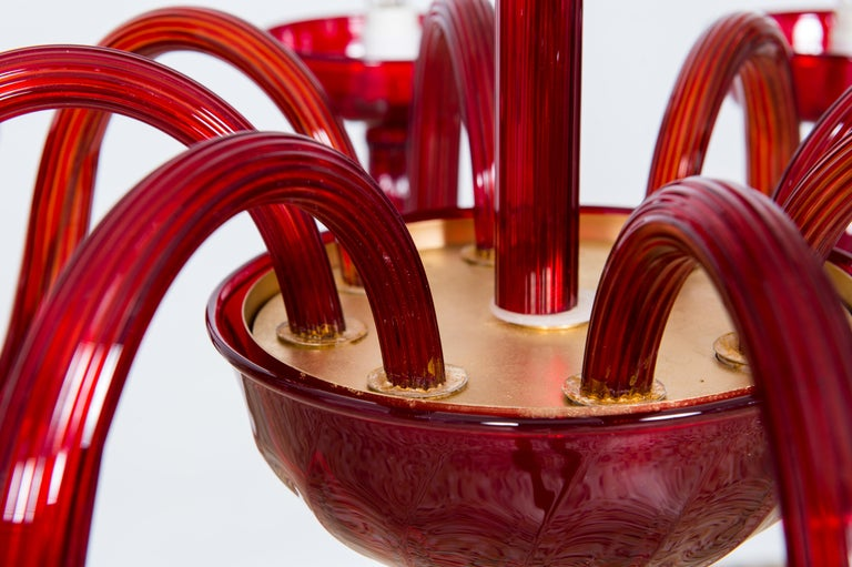 Total Red Chandelier in Blown Murano Glass by Vintage Murano Gallery For Sale 2