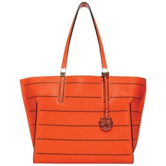 Tote - Tiger Orange Leather Handbag