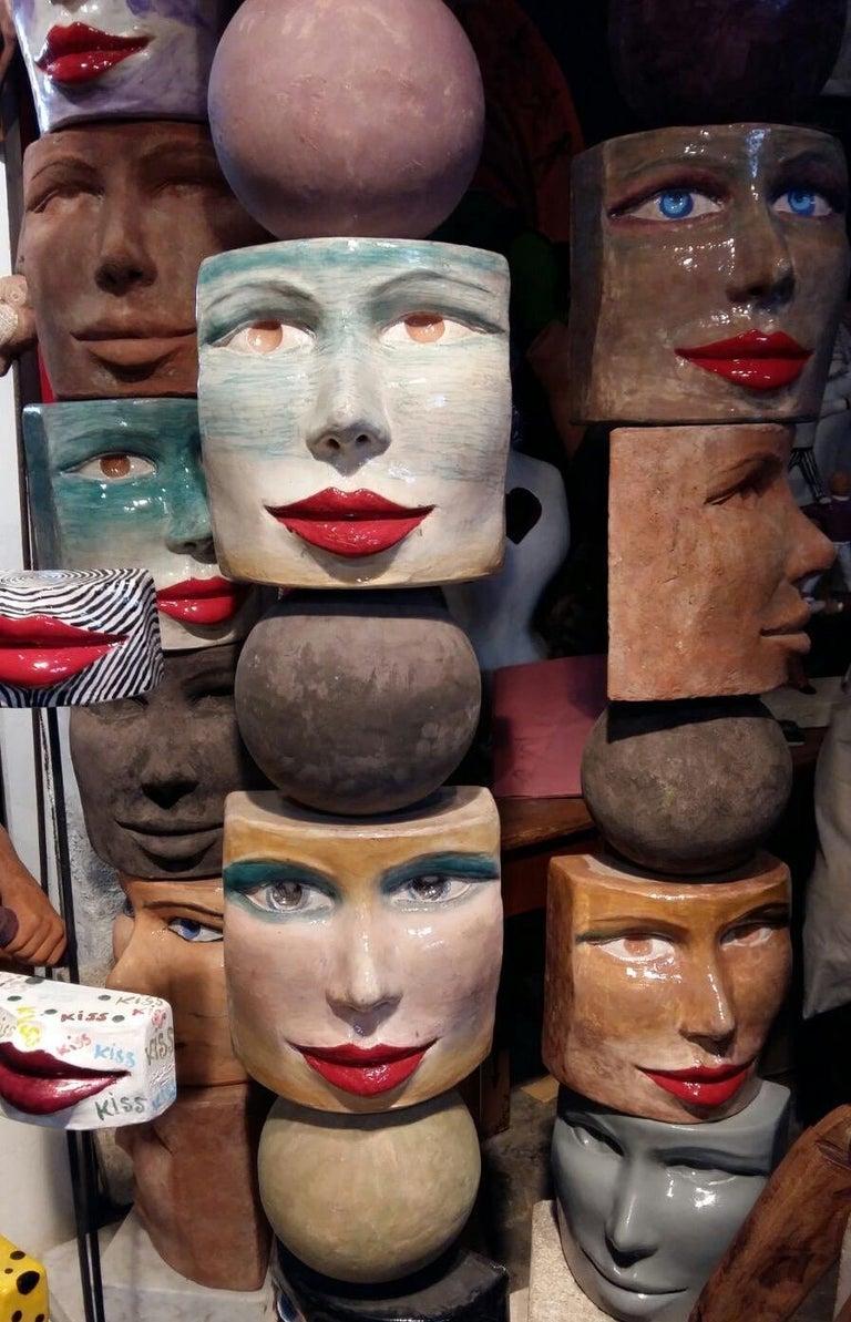 TOTEM Contemporary Italian Organic Pastel Enamel Figural Sculpture in Terracotta For Sale 5