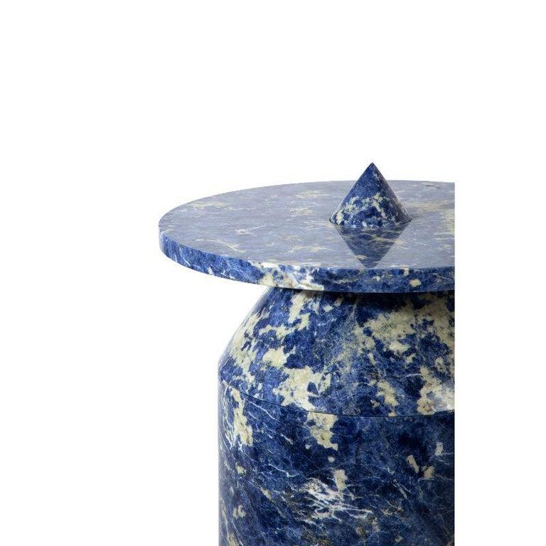 Modern Totem in Blu Sodalite Marble Table by Karen Chekerdjian For Sale