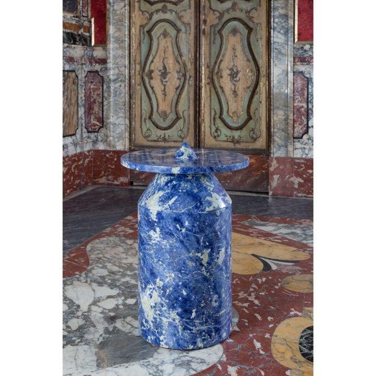 Contemporary Totem in Blu Sodalite Marble Table by Karen Chekerdjian For Sale