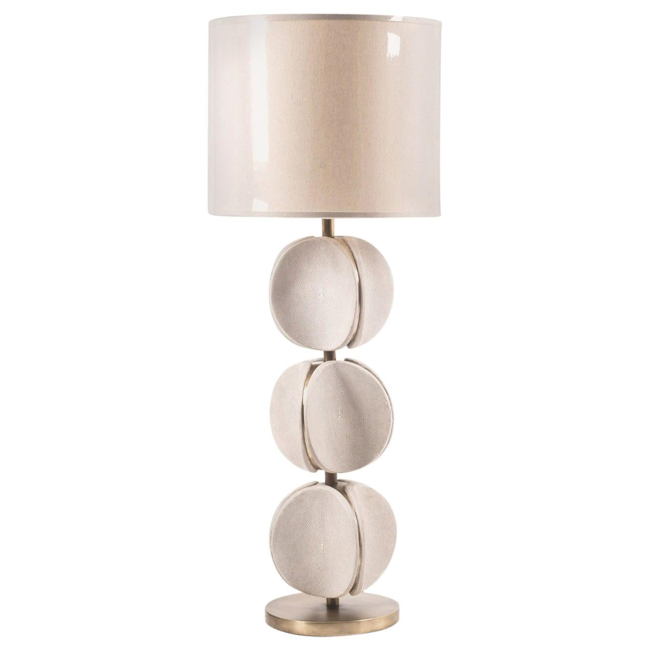 TOTEM Lamp in Cream Shagreen and Bronze-Patina Brass by Kifu Paris