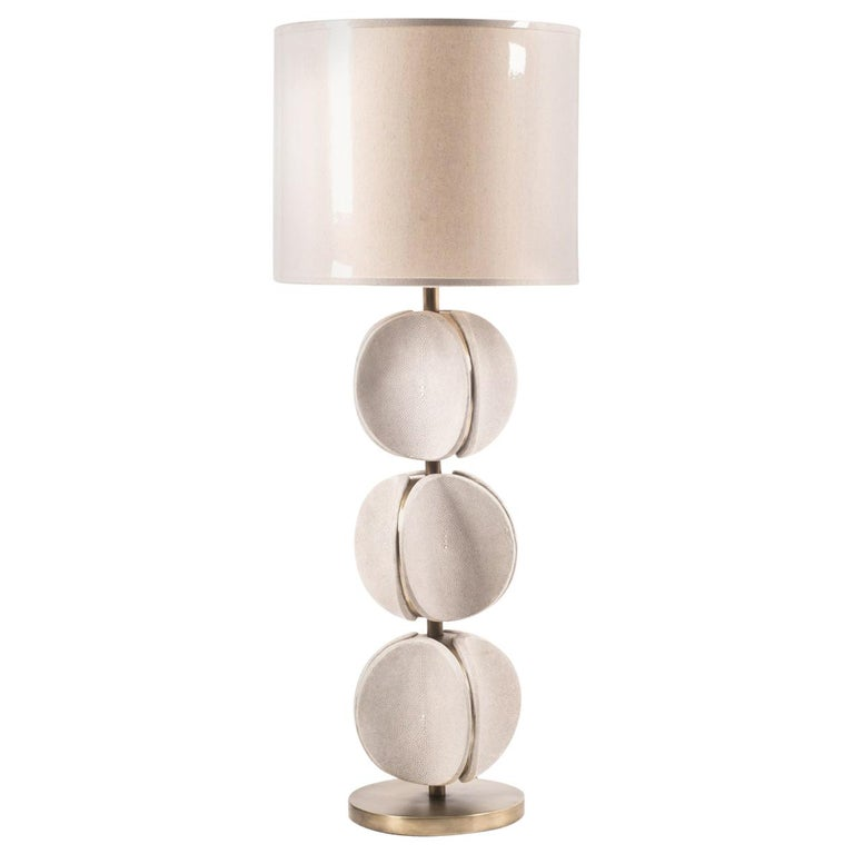 TOTEM Lamp in Cream Shagreen and Bronze-Patina Brass by Kifu Paris For Sale