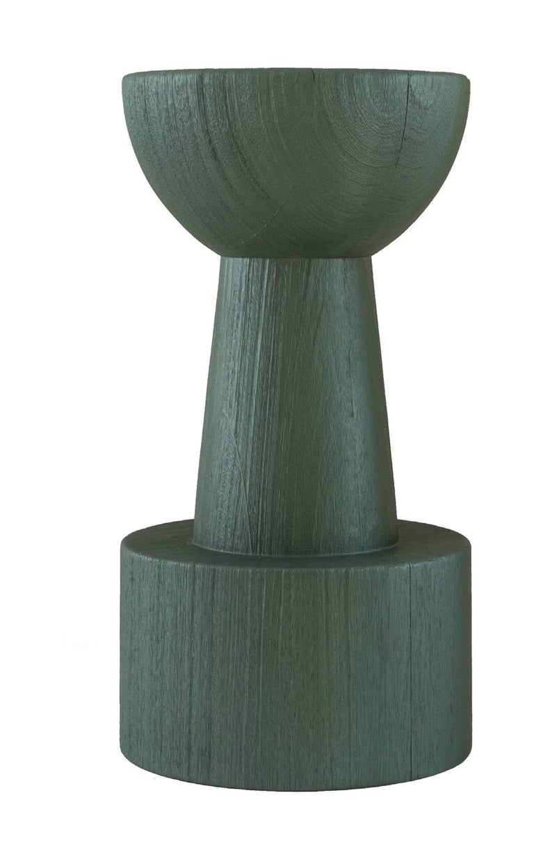 TOTEM Pearly Green Glaze Solid African Wood Island / Bar Stools In New Condition For Sale In NEW YORK, NY