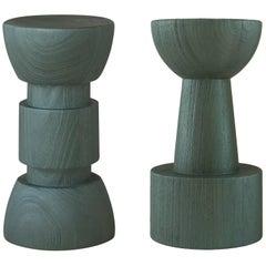 Barhocker im Stil afrikanischer Totems aus grün glasiertem afrikanischem Massivholz