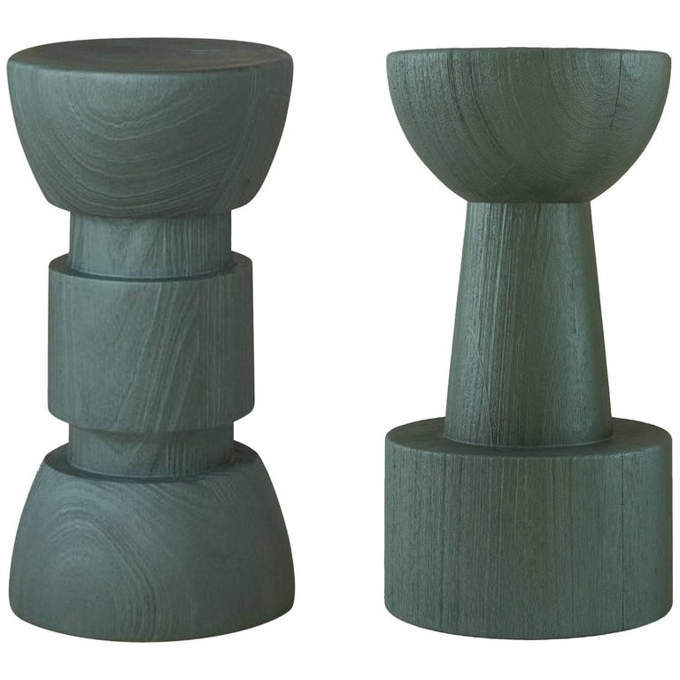 TOTEM Pearly Green Glaze Solid African Wood Island / Bar Stools For Sale