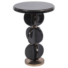 TOTEM Side Table in Black Shell & Bronze-Patina Brass by Kifu, Paris