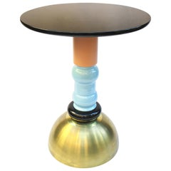 TOTEM Table in Brass, Wood and Ceramic, Handmade in Italy