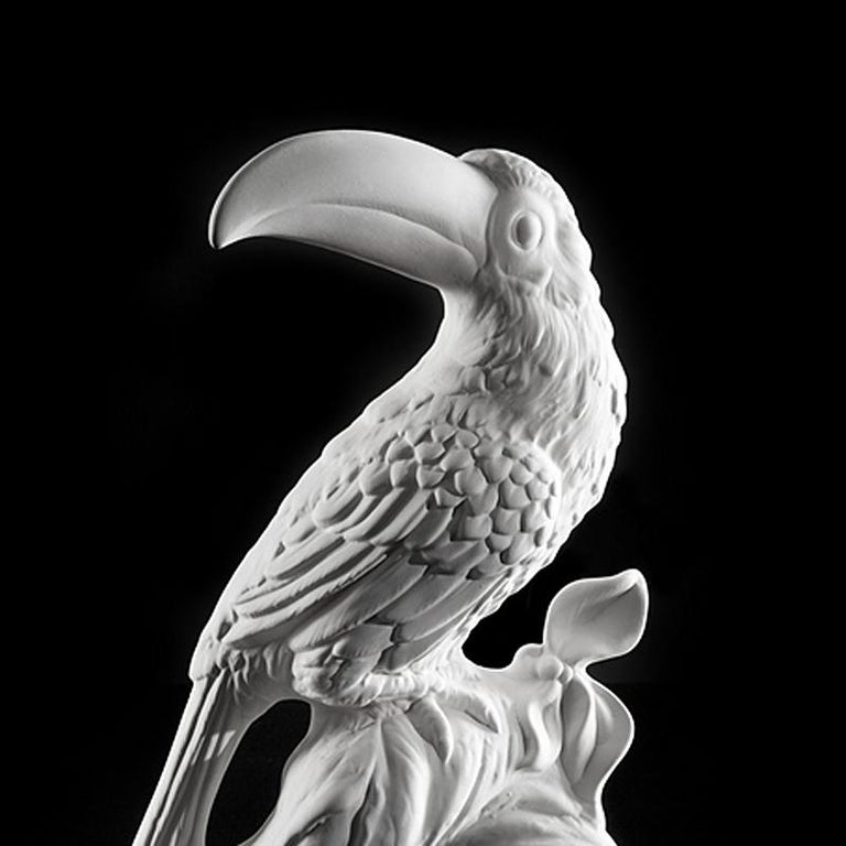 Sculpture Toucan made with white ceramic.
