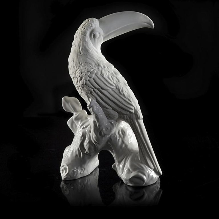 Hand-Crafted Toucan Sculpture Ceramic White For Sale