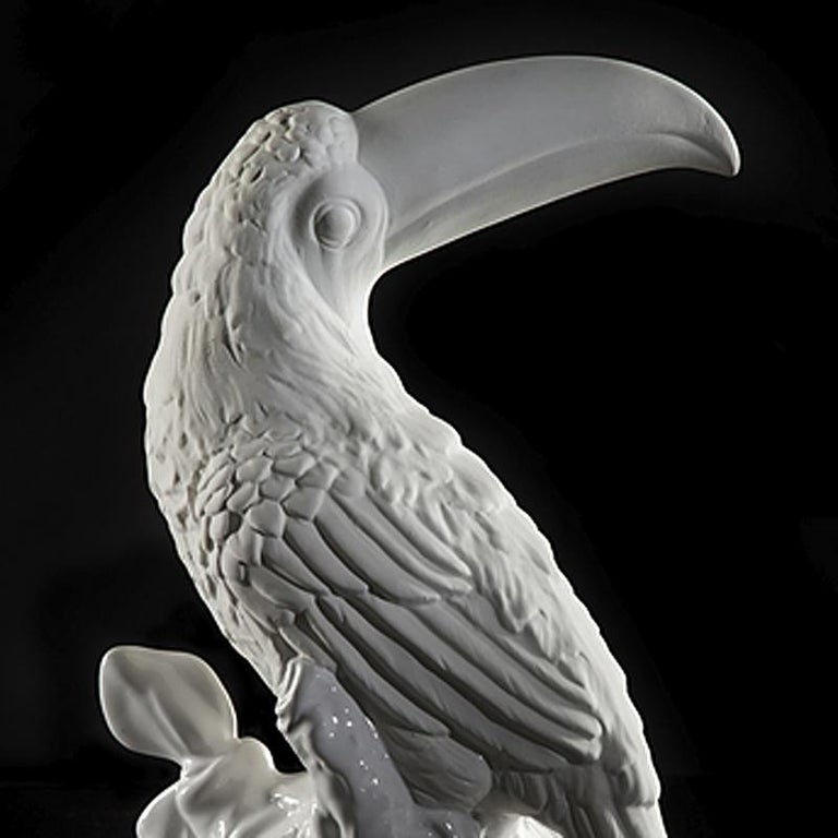 Toucan Sculpture Ceramic White For Sale 1